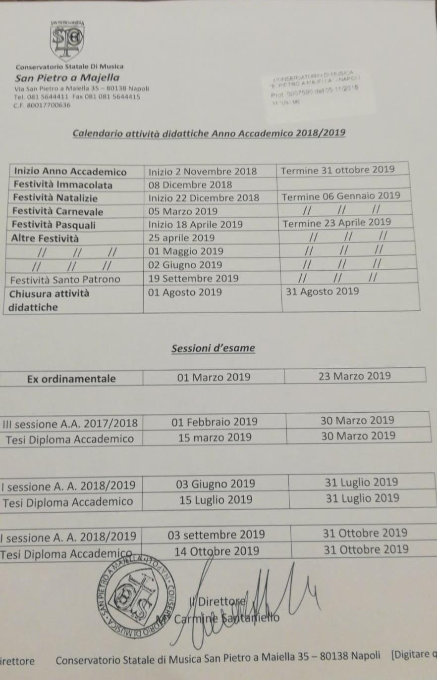 Calendario 31 Luglio 2019.Calendari Lezione Conservatorio Di Musica San Pietro A Majella