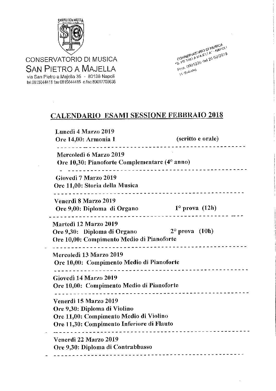 Calendario Esami.Calendario Esami Sessione Febbraio 2018 Conservatorio Di